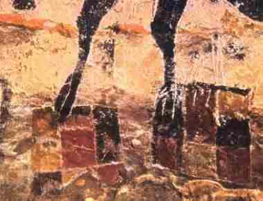 Caves of Lascaux, Legs of Female Cow standing on coloured flags